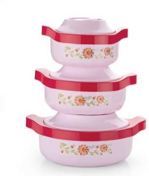 dewberries Pack of 3 Thermoware Casserole Set, Floral Print (800ML,1500ML,2500ML) Pack of 3 Serve Casserole Set