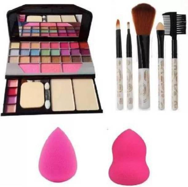 Miss New 6155 Makeup kit + 5 pcs Makeup Brush + 2 Pcs Blender Puff Combo