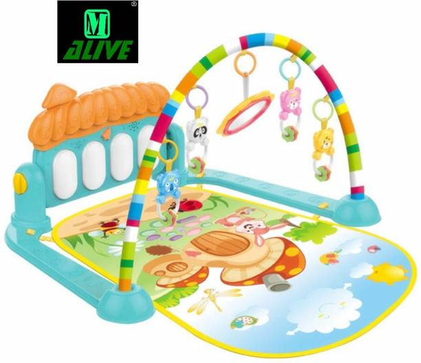 M-Alive 5 in 1 Babyâ??s Piano Gym Mat Kick and Play Multi-Function ABS High Grade Plastic Piano Baby Gym and Fitness (Blue)