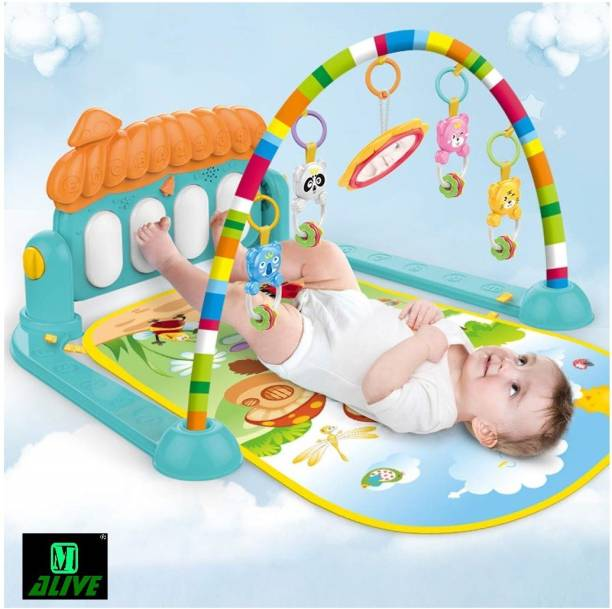 M-Alive Baby Play Mat Kick and Play Piano Gym Toys and Musical Activity Baby Gym for 6-36 Month Boys and Girls (Sky Blue)