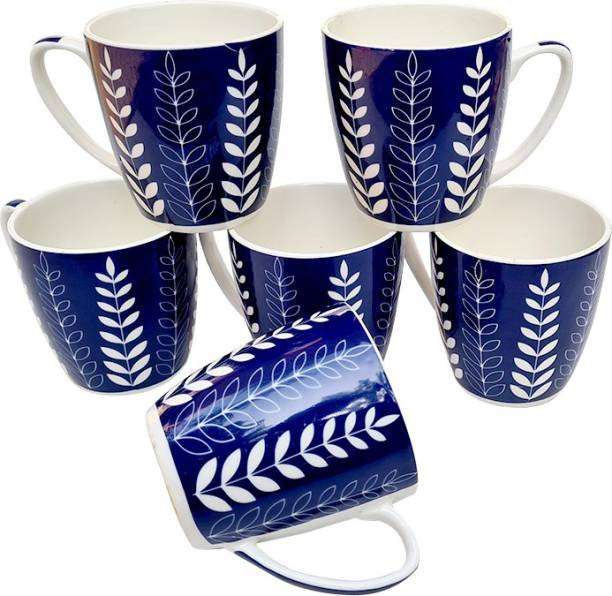 UPC Pack of 6 Bone China Set of 6 Coffee Mugs New Modern Design Fine Bone Ceramics Tableware, Premium Light Tea/Coffee Cups (Set of 6 Mugs in a Box)