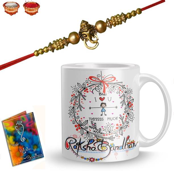 Elegaci Gifts Chawal Roli Pack, Rakhi, Greeting Card, Mug  Set