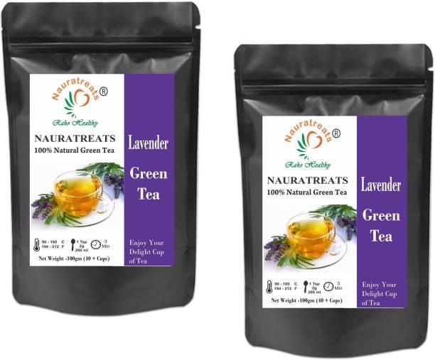 Nauratreats Lavender Green Tea Signature Blend | Green Loose Leaf Herbal Tea Pack of 2 (100gm x2) Lavender Green Tea Pouch