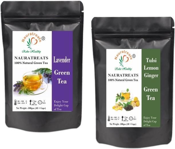 Nauratreats Lavender Green Tea Signature Blend (100g) & Tulsi Lemon Ginger Green Tea (100g) for Weight Loss Loose Leaf Tea Pack of 2 Green Tea Pouch