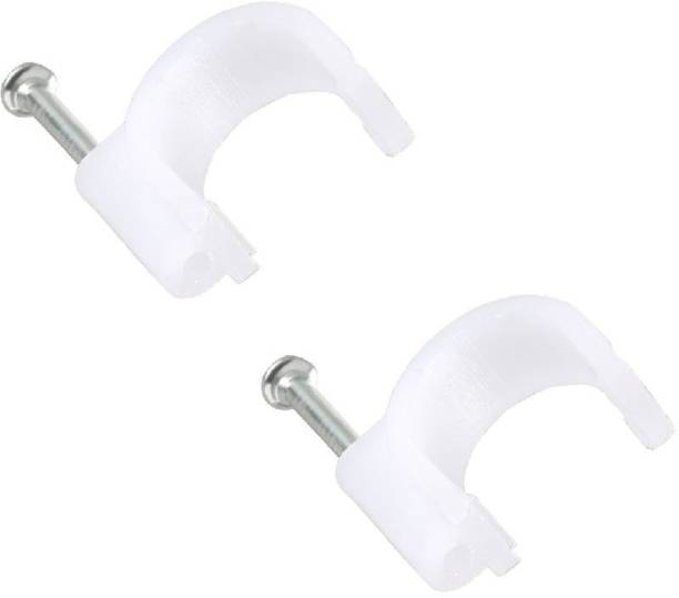 HI-PLASST 8mm(100pcs) Wire Fastener,Circle Cable Clips with Metal Nails,White (8mm) Plastic Hook & Loop Cable Tie