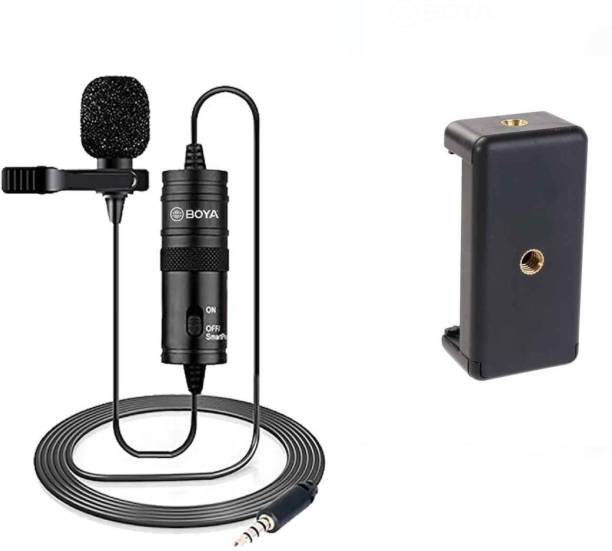 BOYA BYM1 Omnidirectional Lavalier Condenser Camera Mic with smart mount2 with 20ft Audio Cable Microphone