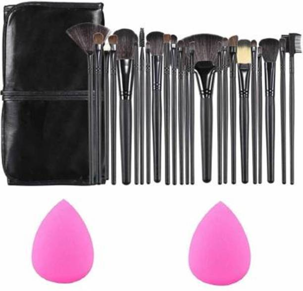 ALVRIO Professional Wood Make Up Brushes Sets With Leather Storage Pouch - 24 Pcs (Black)+ 2 SPONGE PUFF (26 Items in the set)