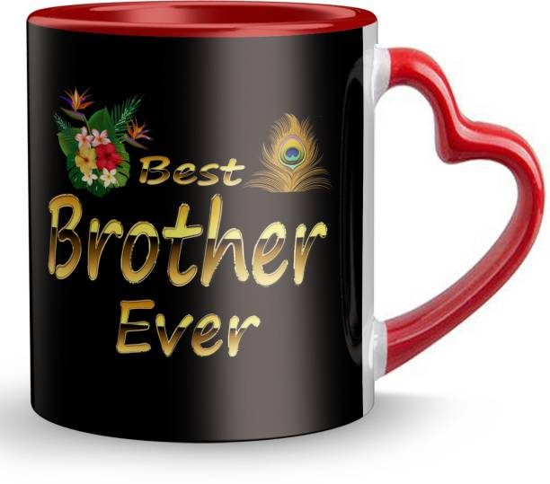 """Youth Style """"Best Brother Ever"""" Printed Red Heart Shape Handle Coffee and Tea Ceramic- Gift for Rakhi, bhaiya dooj, Friends , Any occasion beauty full for brother Red Heart-929 Ceramic Coffee Mug"""