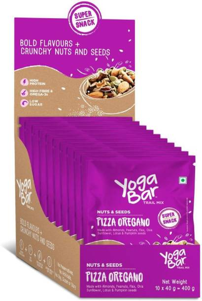 Yogabar Trail Mix Nuts & Seeds | Pizza Oregano 40g x 10 | Healthy Namkeen with Nuts and Dry Fruits | Superfood with Roasted Sunflower and Chia Seeds | Gluten Free Trail Mix | High in Protein & Fibre