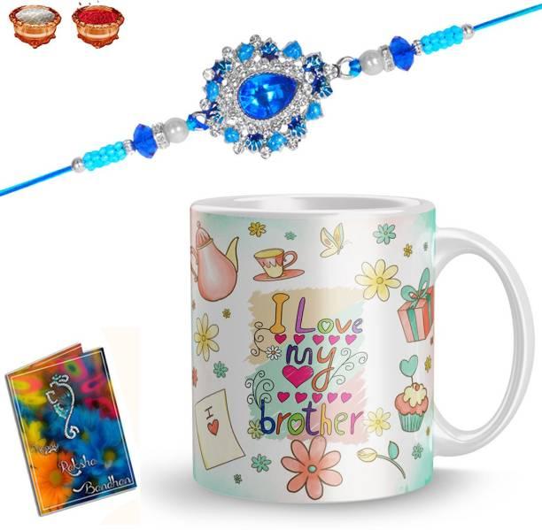 rakhi for brother elegaci gifts Rakhi, Mug, Greeting Card, Chawal Roli Pack  Set