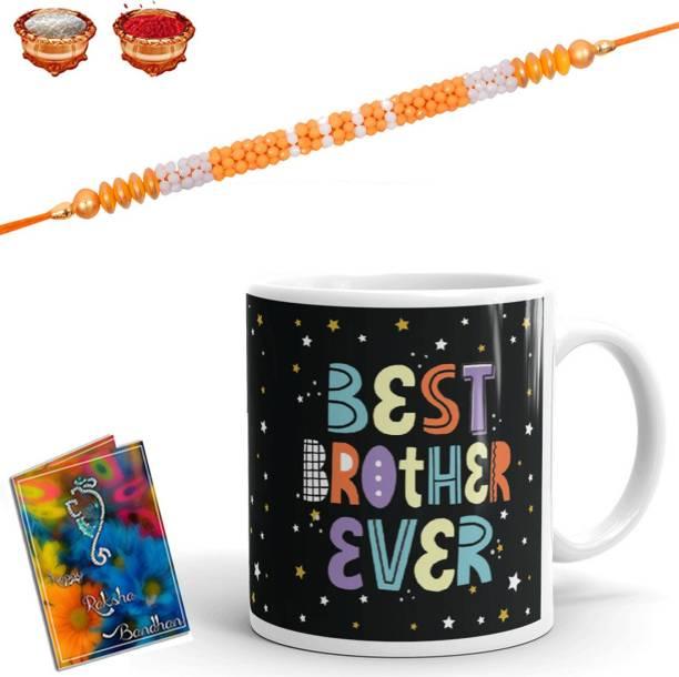 Earnam Designer Chawal Roli Pack, Rakhi, Greeting Card, Mug  Set