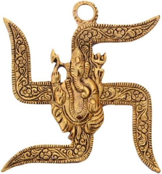 KANISHQ RELIGIOUS IDOL COMBO GOLDEN GANESH-ON SWASTIK Decorative Showpiece  -  9 cm