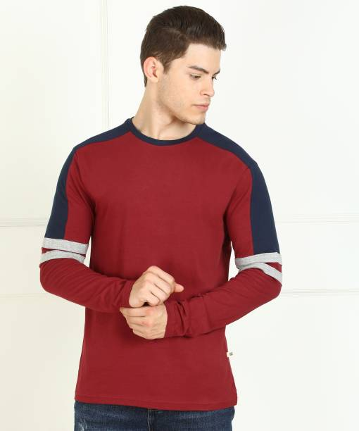 Billion Solid Men Round Neck Maroon T-Shirt