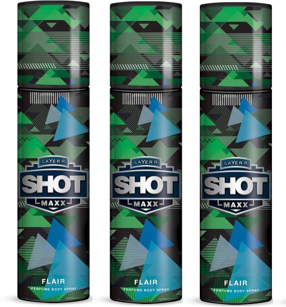 LAYER'R Shot Maxx Perfume Body Spray FLAIR SET OF 3 (125ml Each) Body Spray  -  For Men & Women