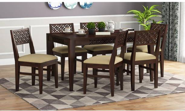 Furnizy Solid Wood 6 Seater Dining Set