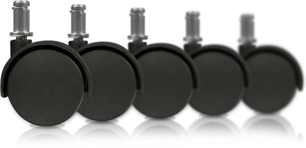 Boriva Pin Type Plastic Twin Castor Wheels for Office Chairs Furniture (Black) - Set of 5 Pieces Bar Stool Wheels