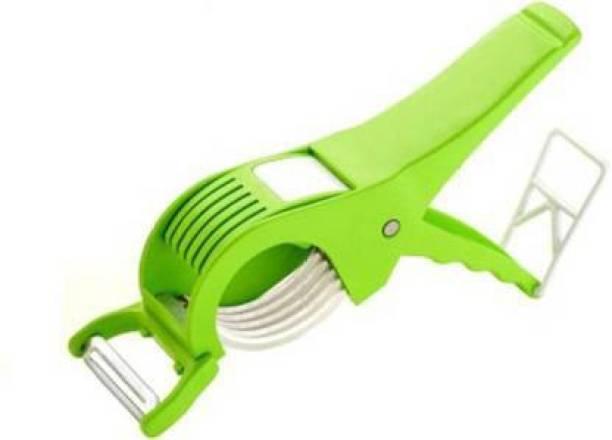 Kp Enterprise Plastic Vegetable Cutter with Peeler, Set of 2, Multicolour Vegetable & Fruit Vegetable & Fruit Slicer (2) Vegetable & Fruit Slicer