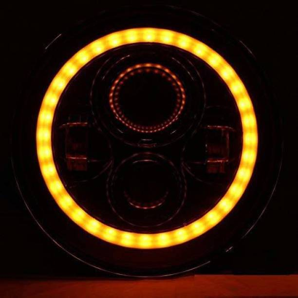 Golden Fox 50W 4 LED Headlight with Angel Eye Projector Dual DRL Color, H4 Type for Bullet and Jeep Projector Lens
