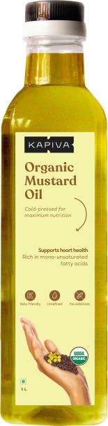 Kapiva Organic Mustard Oil (Supports Heart Health) - 1 L Mustard Oil Plastic Bottle