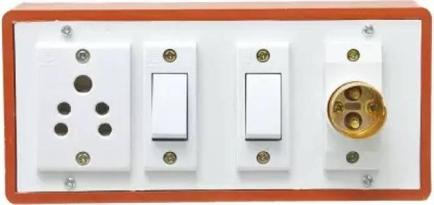 Technowhite wooden type brown switch board with two anchor switches,one 5pin 5amp socket 12 A Five Pin Socket