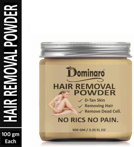 Dominaro 100 % Pure Hair Removal Powder Three in one Use For Powder D-Tan Skin, Removing Hair , Remove Dead cell 100 gm Cream