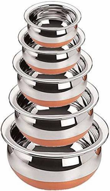 Revi newland Copper Bottom Handi Pot 5 Piece Set/Steel Handi Set 5 Piece Set Handi Handi 0.4 L, 0.65 L, 0.85 L, 1.2 L, 1.6 L (Stainless Steel, Copper) Cookware Set