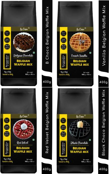 La Casa French Vanilla + Belgian Chocolate + Red Velvet + Black Chocolate Belgian Waffle Mix   Pancake Mix   Multigrain   Vegan   Egg-Less   Extra Crisp   1.6 kgs   1600 g