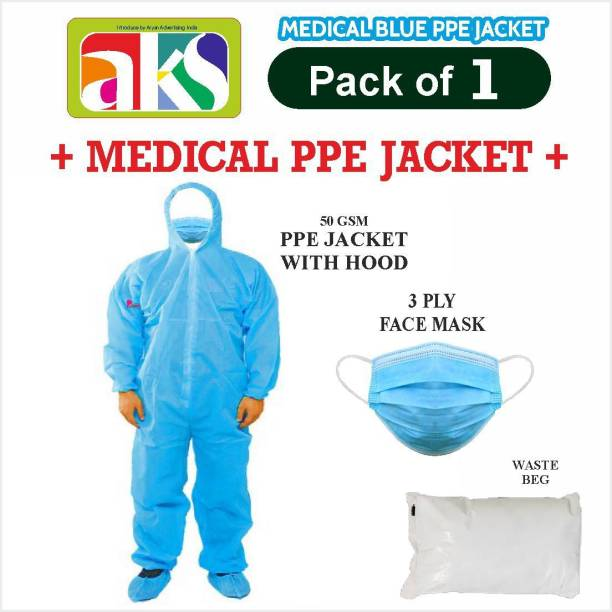 Aks (PPE JACKET) PERSONAL PROTECTION JACKET (50GSM) COVERALL GOWN WITH 3 PLY FACE MASK AND WASTE BAG FOR- SALON, BEAUTY PARLOR, HOTELS, RESTAURANT, SHOPKEEPERS, DRIVERS, WORKERS, OFFICE USE etc.(PACK OF 1) Safety Jacket