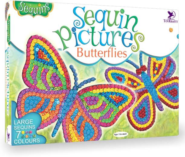 ToyKraftt Sequin Pictures Butterflies - Sequin Craft Activity for 3 To 6 Year Olds