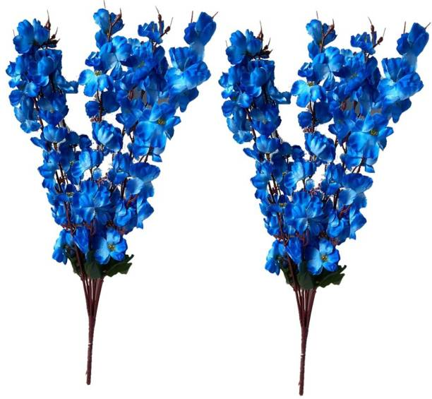 Ryme Artificial Blue Orchid Flower Bunch For Home Decoration (Pack Of 2 and 14 Sticks) Blue Orchids Artificial Flower