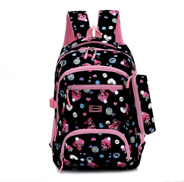 Tinytot SB118_01 School Backpack College Bag Travel Bag with Pencil Pouch 2nd Standard onward Waterproof School Bag