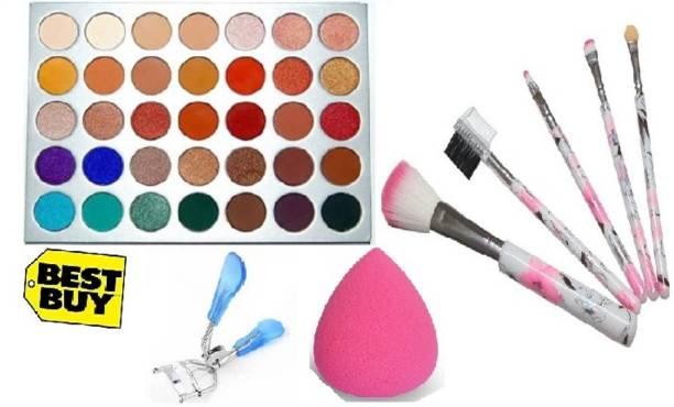 D.B.Z. MORPHE Eyeshadow Palette _5 PCS Brush Set_Eye Curler _AND Beauty blender_(multicolor)_( 4 ITEM IN THE SET)