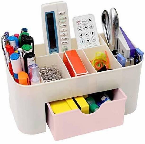 ALWAFLI 7 Compartments Plastic Plastic Cosmetic Makeup Storage Holder Organizer Drawer Box