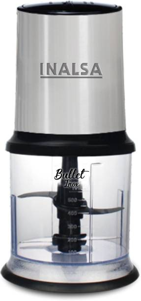 Inalsa Mini Chopper Bullet Inox-450W with Variable Speed &100% Pure Copper Motor Dual Layered Blade & 500ml Capacity 450 W Chopper