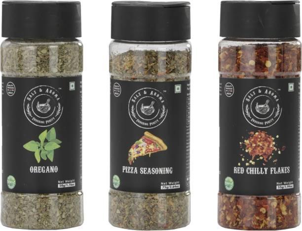 Salz & Aroma Oregano (50 g), Pizza Seasoning (75 g) and Red Chilli Flakes (55 g)