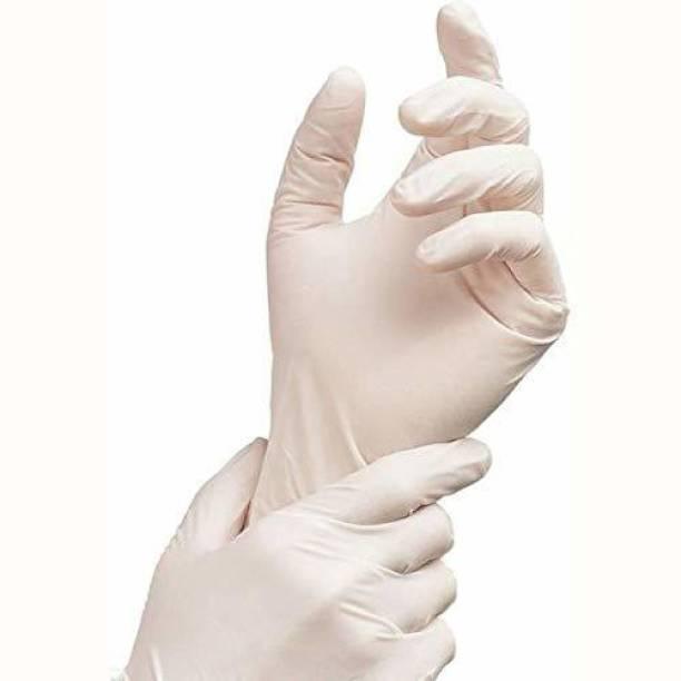 SOBERBIO Disposable Midium Latex Examination Gloves (Pack of 10) Latex Surgical Gloves