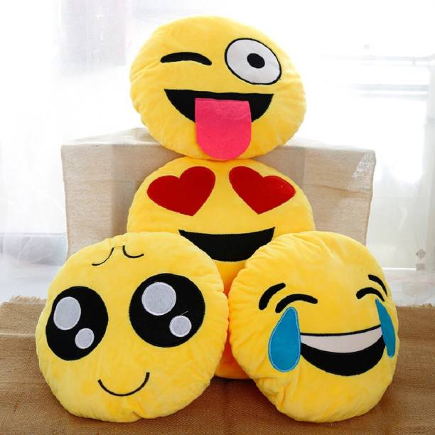 Supreme Home Collective Polyester Fibre Smiley Cushion Pack of 4