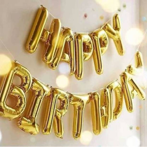 BBS DEAL Solid Set Of 1-(13 pcs ) Gold Solid Happy Birthday Decoration Foil Balloon For Birthday Party- Golden Letter Balloon Letter Balloon