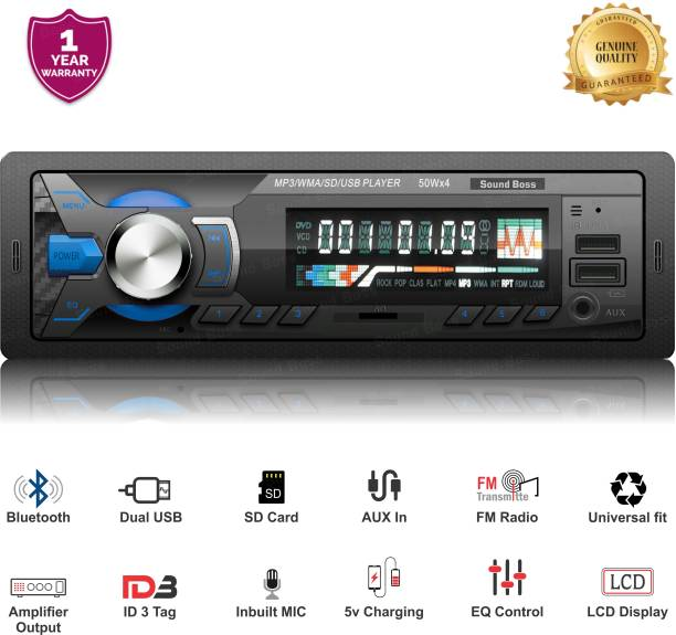 Sound Boss SB-12 Charge Pro+ DUAL USB Bluetooth Wireless With Phone Caller Id Receiver Universal Car Stereo