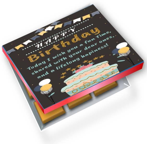 redbakers.in Happy Birthday Black 12Chocolate Gift Box Truffles