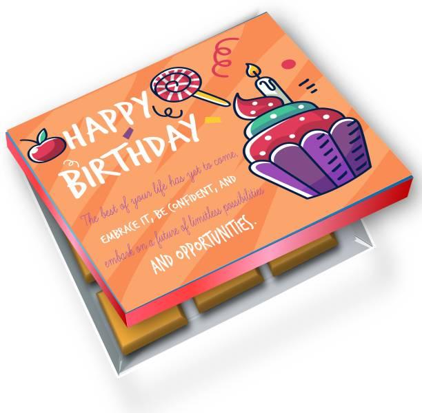 redbakers.in Happy BIrthday OrangeCupcake 12Chocolate Gift Box Truffles