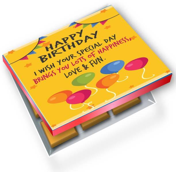 redbakers.in Happy Birthday Yellow 12Chocolate Gift Box Truffles