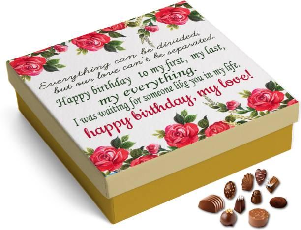 redbakers.in Happy Birthday My Love RoseRed 12Chocolate Gift Box Truffles