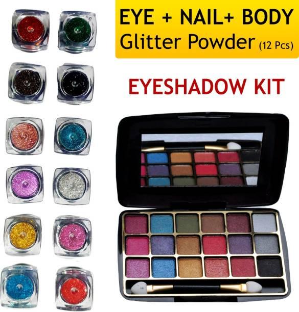 VOZWA Multicolor Shining Glitter Powder (Eyes + Nails + Body) with Eyeshadow Kit