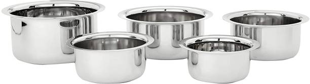 Param stainless steel tope set of 5 (without copper) Pot 2.1 L, 1.6 L, 1.1 L, 0.8 L, 0.5 L (Stainless Steel) Cookware Set
