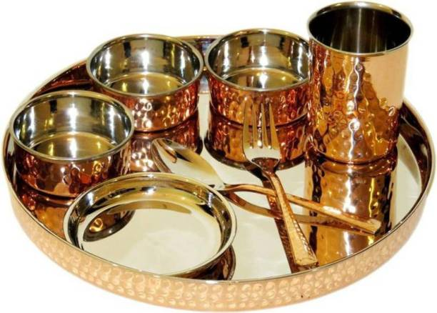 """Oxyjal Copper 8 Piece Dinnerware Traditional Stainless Steel Copper Dinner Set of Thali Plate, Bowls, Glass and Spoons, Dia 13""""- Diwali Gift Set Dinner Set"""