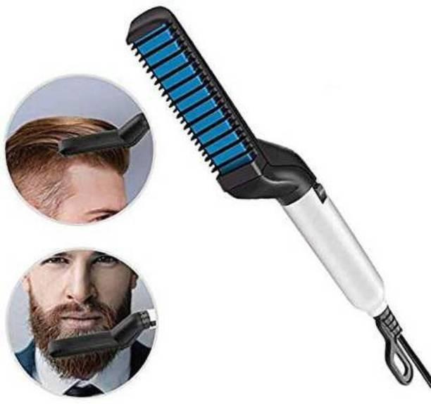 DeltaT Retail Hair Straightening Brush, Electric Styler Comb for Men with Side Hair Detangling, Curly Hair Straightening for Beard Style, Hair Style, Women Short Hair Straightening 6271 Hair Straightener Brush (White) Hair Curler