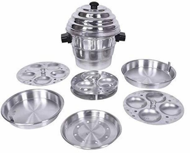 nakoda Aluminium Idli,Dhokla Maker(1 Pot, 1 Lid, 4 Idli Plates, 2 Dhokla Plates) Standard Idli Maker (4 Plates , 15 Idlis ) Standard Idli Maker