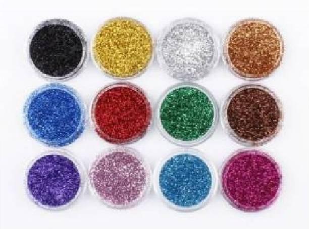 ads 12 MultiColors Eye Shadow Glitter Powder Set Nail Art
