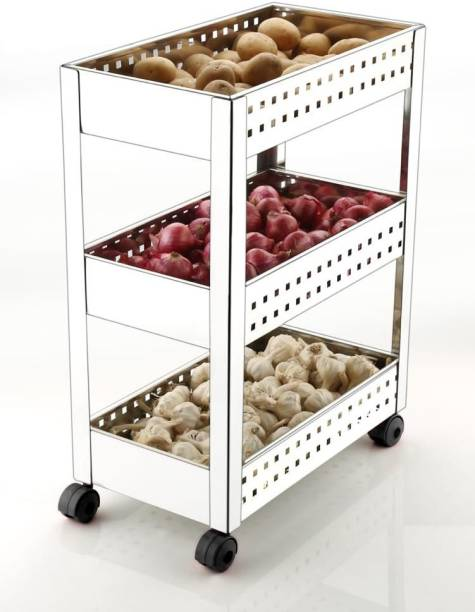 KEEPWELL Stainless Steel 3-Tier Multi-function Vegetable / Fruit Basket / Storage Trolley for Home & Kitchen Stainless Steel Kitchen Trolley